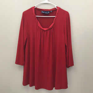Susan Graver Red 3/4 Sleeve Blouse